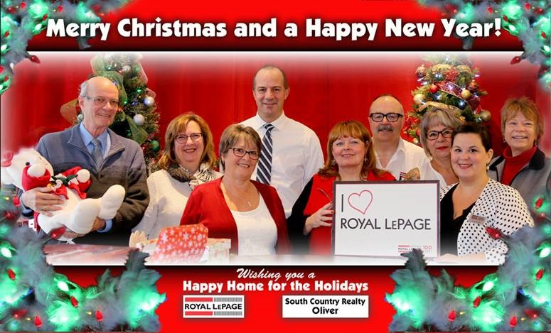 Christmas Greeting from the Realtors and staff at Royal LePage South Country in Oliver